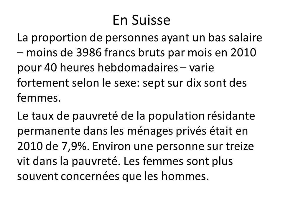 En Suisse La proportion de personnes ayant un bas salaire – moins de 3986 francs bruts par mois en 2010 pour 40 heures hebdomadaires – varie fortement selon le sexe: sept sur dix sont des femmes.