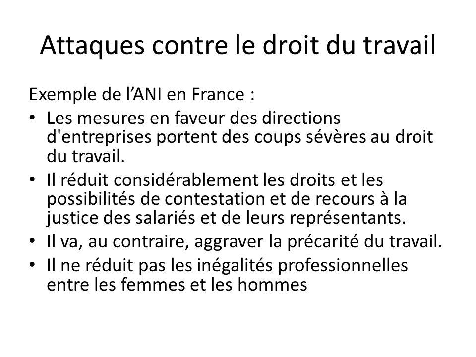 Attaques contre le droit du travail Exemple de lANI en France : Les mesures en faveur des directions d entreprises portent des coups sévères au droit du travail.
