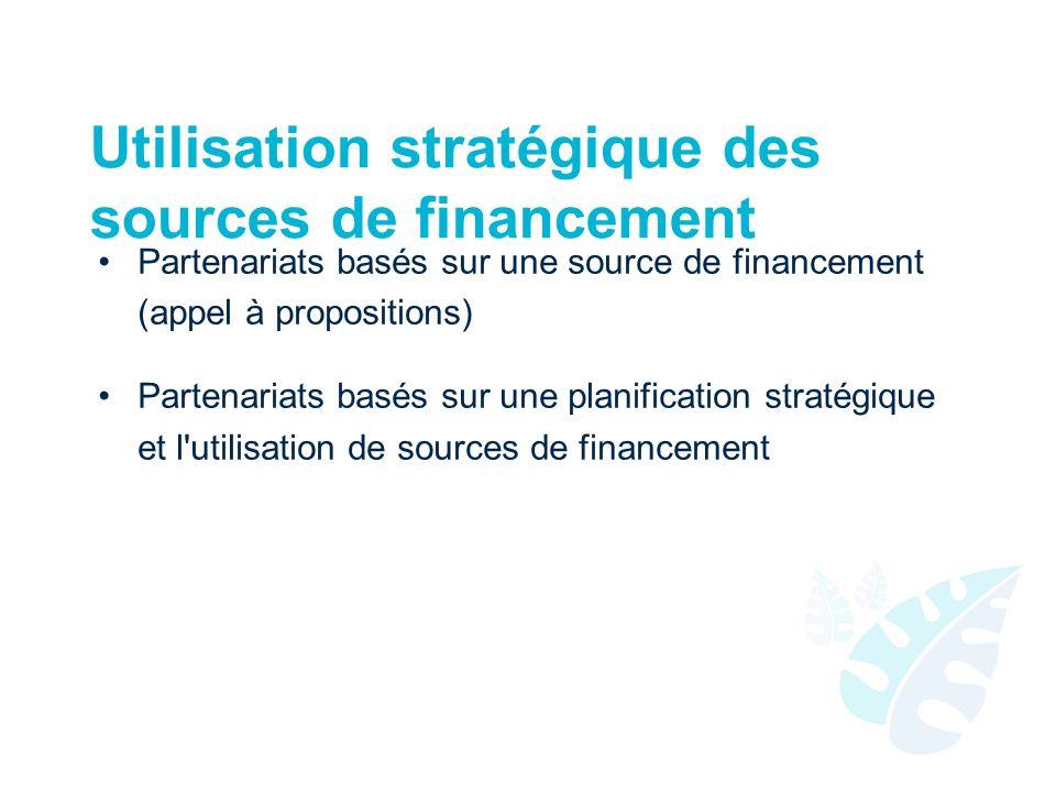 Utilisation stratégique des sources de financement Partenariats basés sur une source de financement (appel à propositions) Partenariats basés sur une planification stratégique et l utilisation de sources de financement