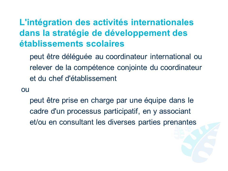 L intégration des activités internationales dans la stratégie de développement des établissements scolaires peut être déléguée au coordinateur international ou relever de la compétence conjointe du coordinateur et du chef d établissement ou peut être prise en charge par une équipe dans le cadre d un processus participatif, en y associant et/ou en consultant les diverses parties prenantes