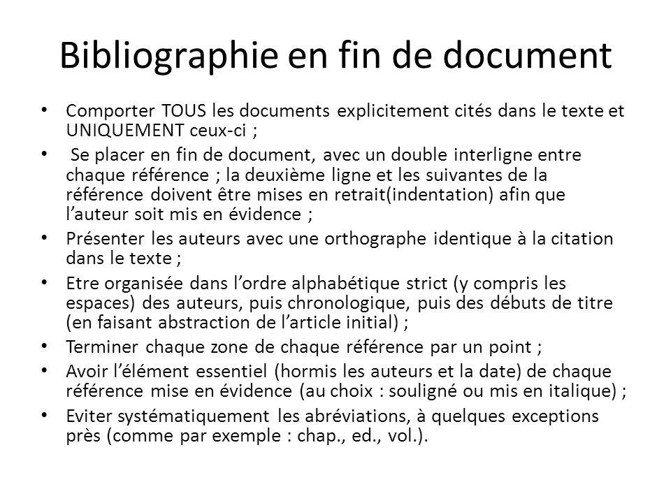 Bibliographie en fin de document Comporter TOUS les documents explicitement cités dans le texte et UNIQUEMENT ceux-ci ; Se placer en fin de document,