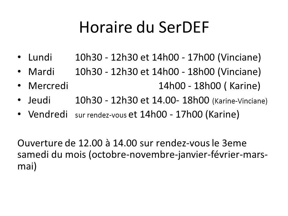 Horaire du SerDEF Lundi 10h30 - 12h30 et 14h00 - 17h00 (Vinciane) Mardi 10h30 - 12h30 et 14h00 - 18h00 (Vinciane) Mercredi 14h00 - 18h00 ( Karine) Jeu