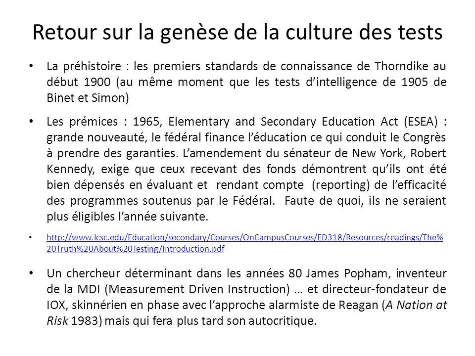 Retour sur la genèse de la culture des tests La préhistoire : les premiers standards de connaissance de Thorndike au début 1900 (au même moment que le