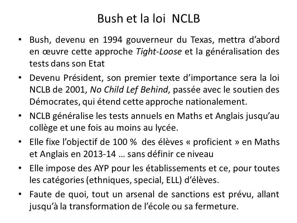 Bush et la loi NCLB Bush, devenu en 1994 gouverneur du Texas, mettra dabord en œuvre cette approche Tight-Loose et la généralisation des tests dans so