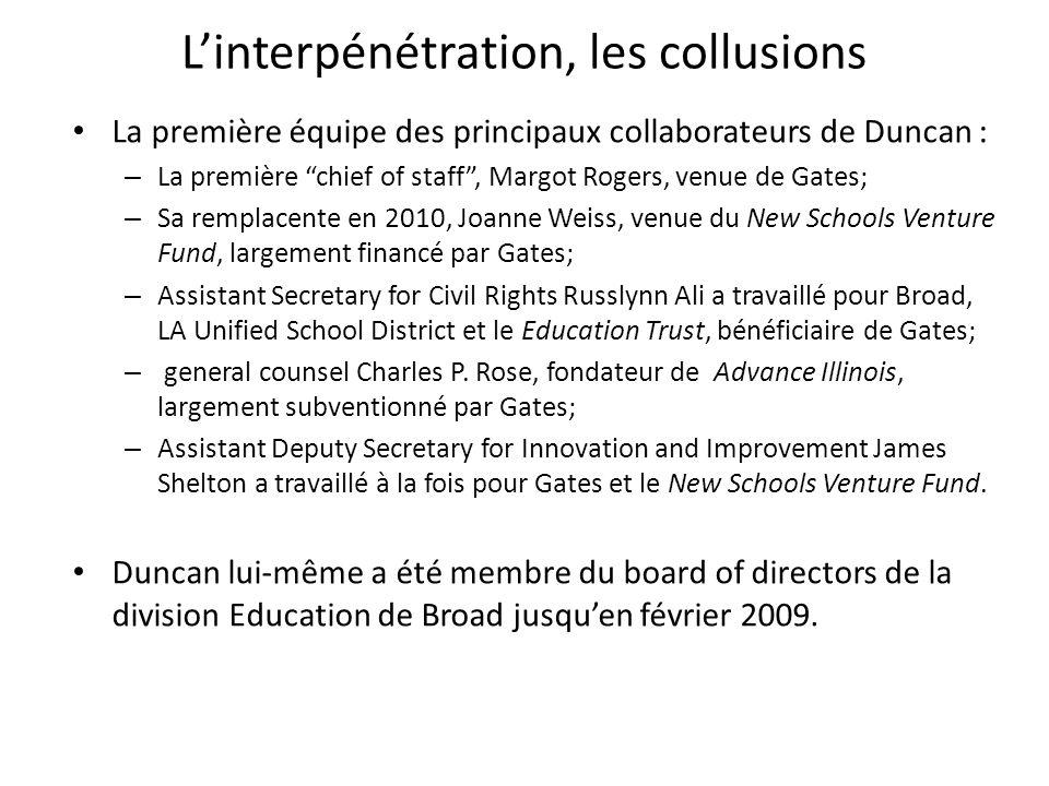 Linterpénétration, les collusions La première équipe des principaux collaborateurs de Duncan : – La première chief of staff, Margot Rogers, venue de G