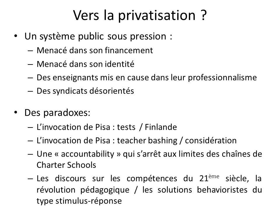 Vers la privatisation ? Un système public sous pression : – Menacé dans son financement – Menacé dans son identité – Des enseignants mis en cause dans