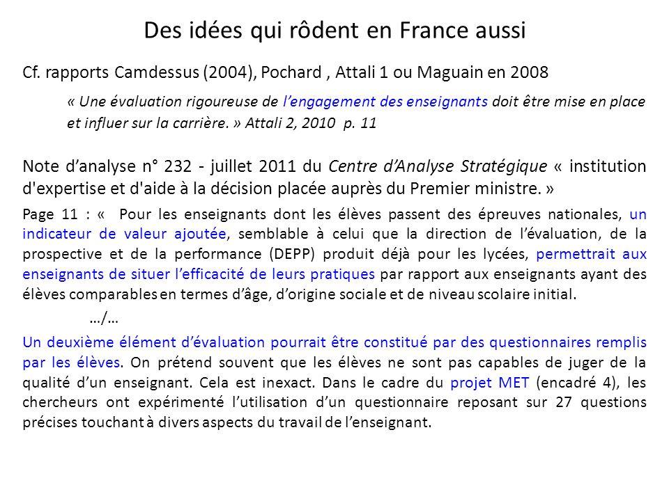 Des idées qui rôdent en France aussi Cf. rapports Camdessus (2004), Pochard, Attali 1 ou Maguain en 2008 « Une évaluation rigoureuse de lengagement de