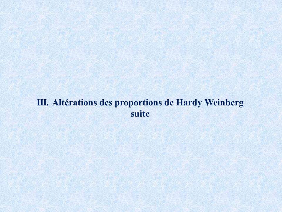 III. Altérations des proportions de Hardy Weinberg suite