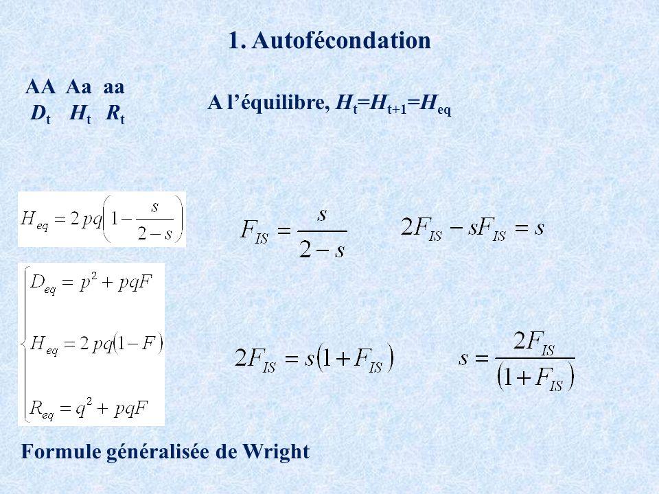 1. Autofécondation AA Aa aa D t H t R t A léquilibre, H t =H t+1 =H eq Formule généralisée de Wright