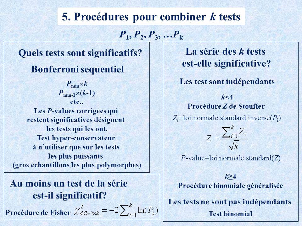 5.Procédures pour combiner k tests Quels tests sont significatifs.