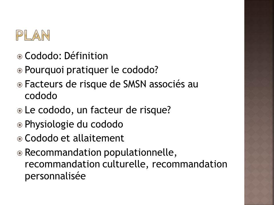 Cododo: Définition Pourquoi pratiquer le cododo? Facteurs de risque de SMSN associés au cododo Le cododo, un facteur de risque? Physiologie du cododo