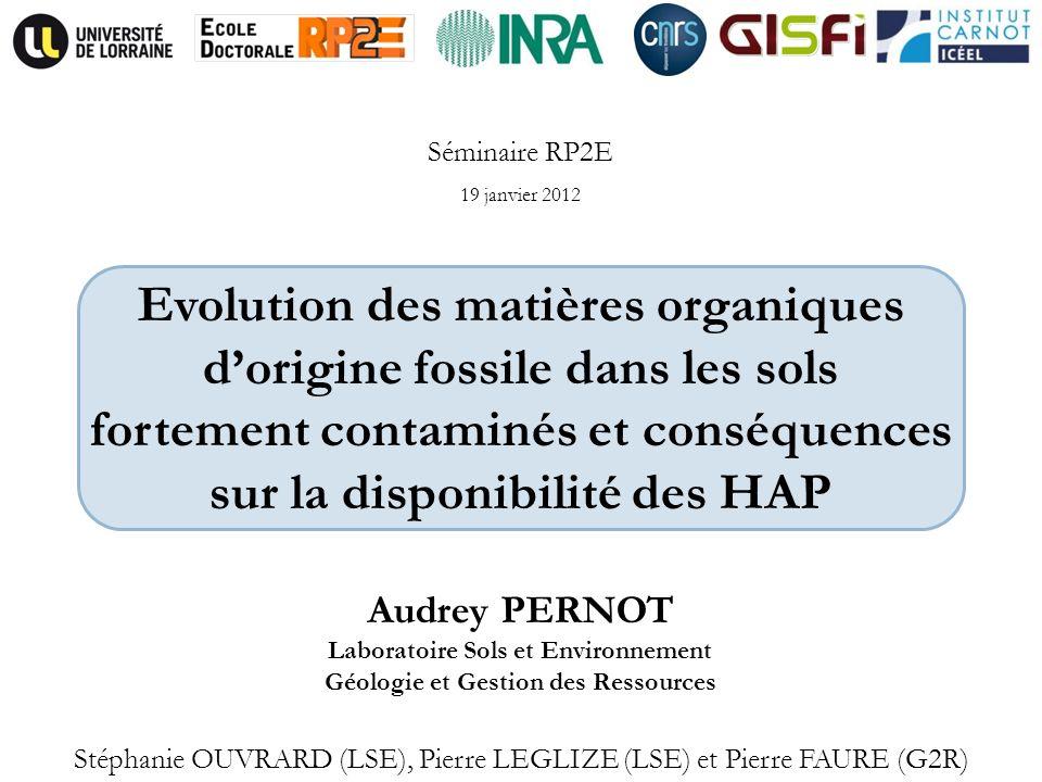 Audrey PERNOT Laboratoire Sols et Environnement Géologie et Gestion des Ressources Stéphanie OUVRARD (LSE), Pierre LEGLIZE (LSE) et Pierre FAURE (G2R)