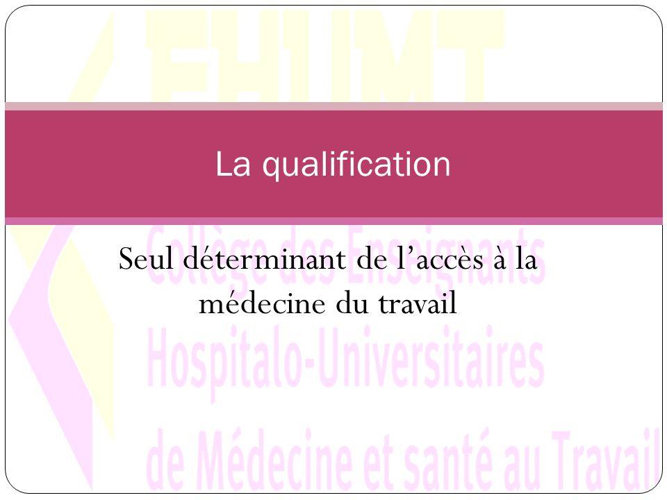 Seul déterminant de laccès à la médecine du travail La qualification