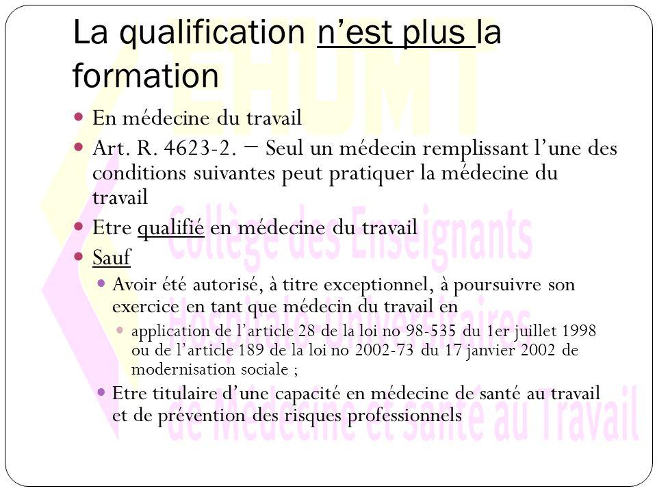 La qualification nest plus la formation En médecine du travail Art.