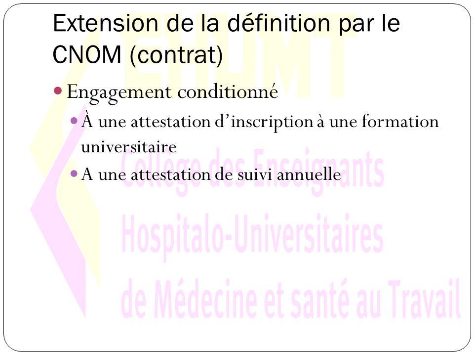 Extension de la définition par le CNOM (contrat) Engagement conditionné À une attestation dinscription à une formation universitaire A une attestation de suivi annuelle