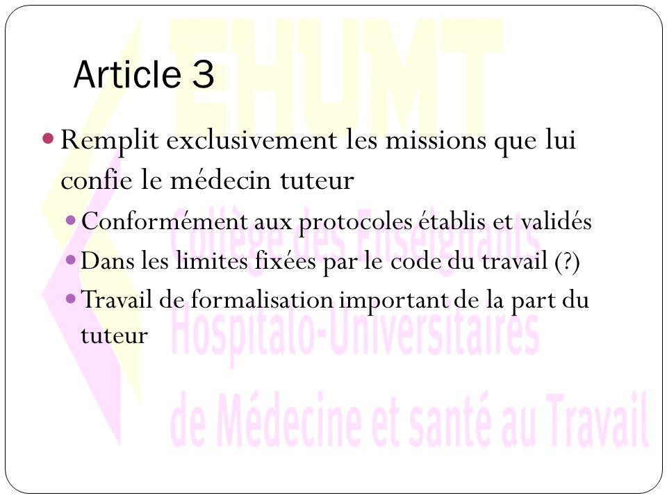Article 3 Remplit exclusivement les missions que lui confie le médecin tuteur Conformément aux protocoles établis et validés Dans les limites fixées par le code du travail (?) Travail de formalisation important de la part du tuteur