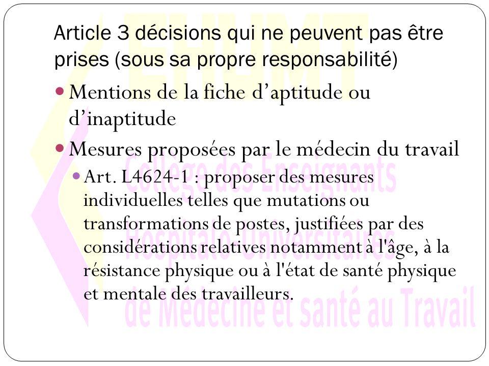 Article 3 décisions qui ne peuvent pas être prises (sous sa propre responsabilité) Mentions de la fiche daptitude ou dinaptitude Mesures proposées par le médecin du travail Art.