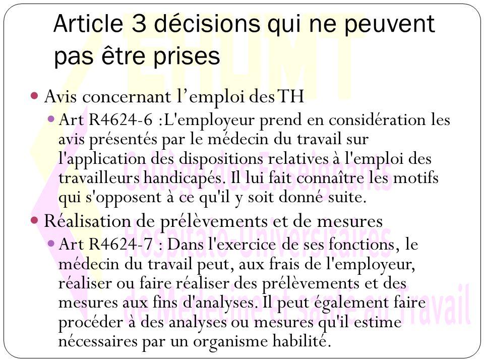 Article 3 décisions qui ne peuvent pas être prises Avis concernant lemploi des TH Art R4624-6 :L employeur prend en considération les avis présentés par le médecin du travail sur l application des dispositions relatives à l emploi des travailleurs handicapés.