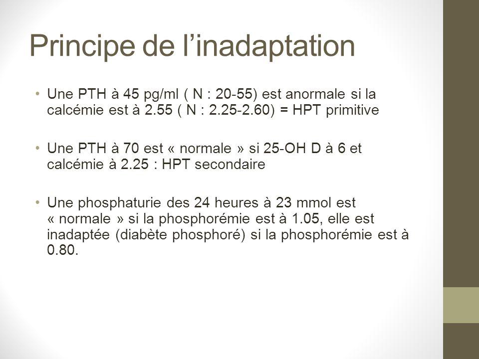 Principe de linadaptation Une PTH à 45 pg/ml ( N : 20-55) est anormale si la calcémie est à 2.55 ( N : 2.25-2.60) = HPT primitive Une PTH à 70 est « n