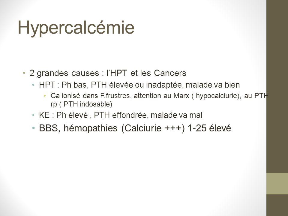 Hypercalcémie 2 grandes causes : lHPT et les Cancers HPT : Ph bas, PTH élevée ou inadaptée, malade va bien Ca ionisé dans F.frustres, attention au Mar