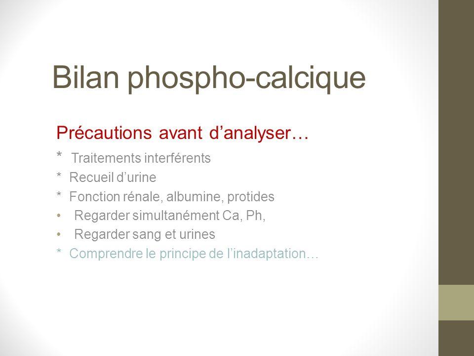 Bilan phospho-calcique Précautions avant danalyser… * Traitements interférents * Recueil durine * Fonction rénale, albumine, protides Regarder simulta