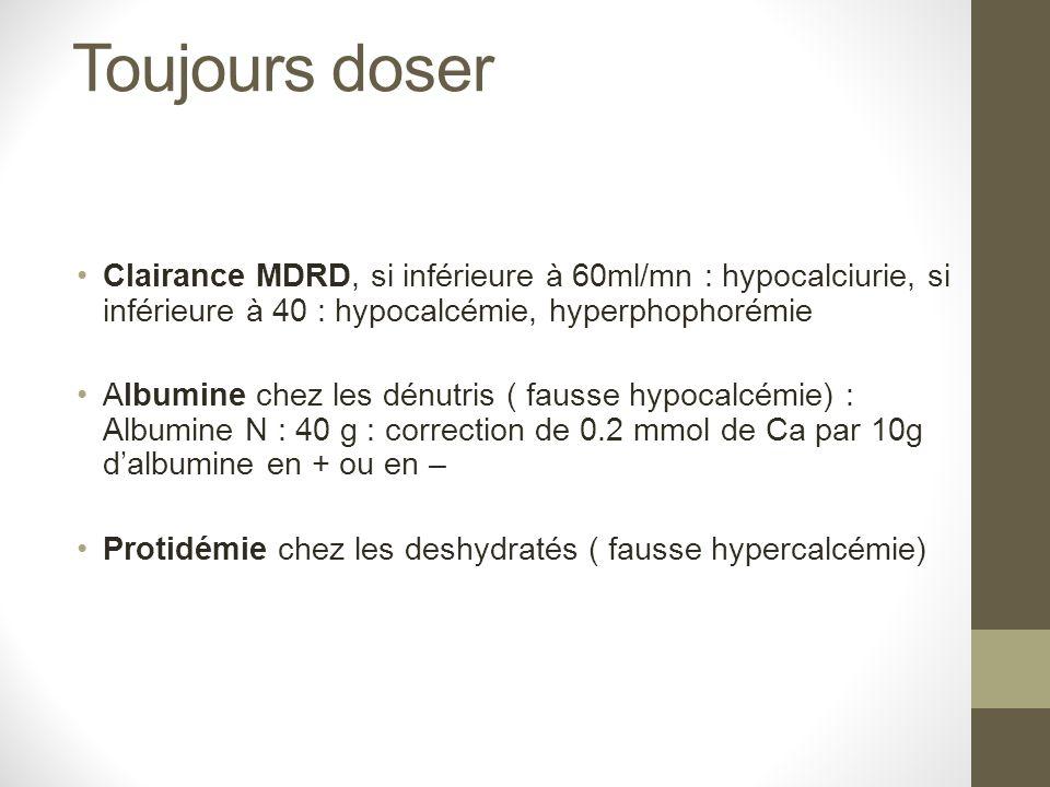 Toujours doser Clairance MDRD, si inférieure à 60ml/mn : hypocalciurie, si inférieure à 40 : hypocalcémie, hyperphophorémie Albumine chez les dénutris