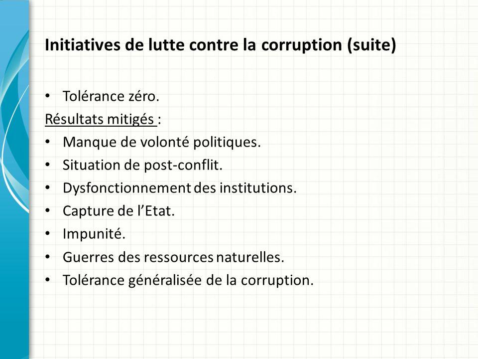 Initiatives de lutte contre la corruption (suite) Tolérance zéro.