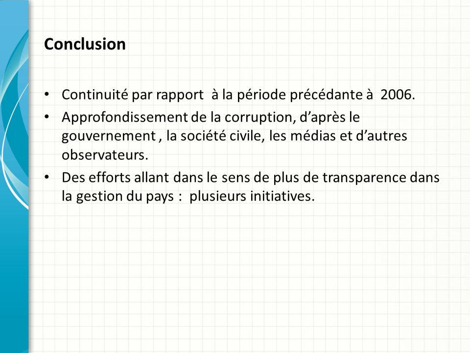 Conclusion Continuité par rapport à la période précédante à 2006.