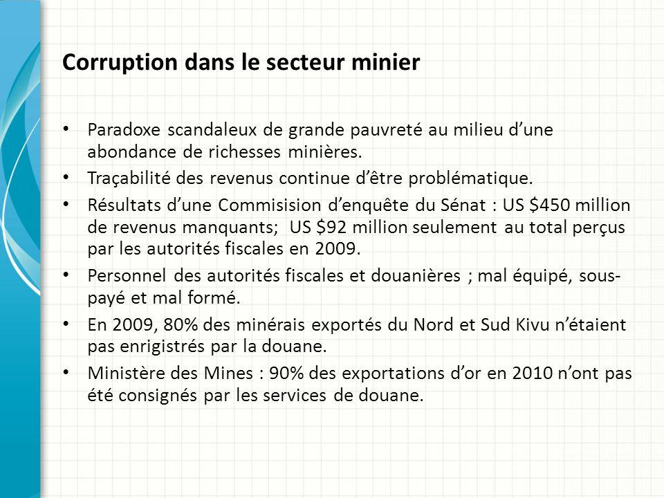 Corruption dans le secteur minier Paradoxe scandaleux de grande pauvreté au milieu dune abondance de richesses minières.