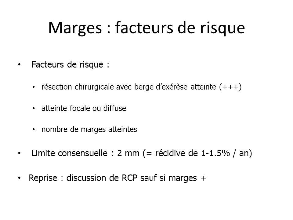Marges : facteurs de risque Facteurs de risque : résection chirurgicale avec berge dexérèse atteinte (+++) atteinte focale ou diffuse nombre de marges