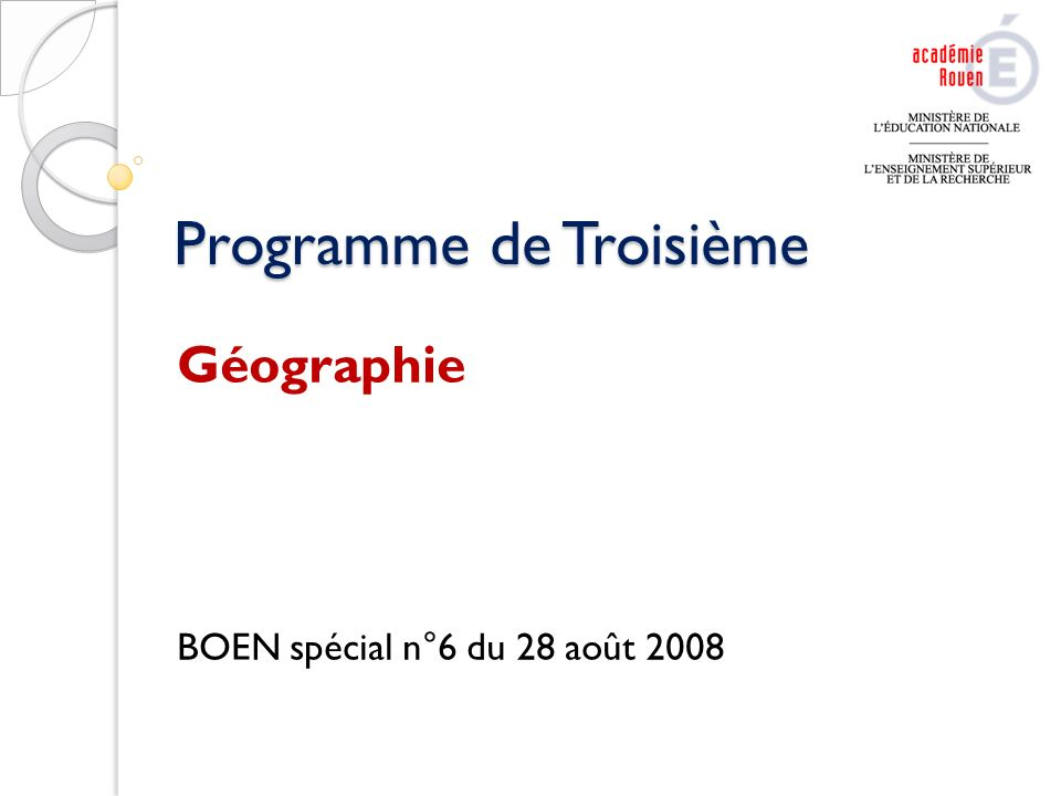 Programme de Troisième Géographie BOEN spécial n°6 du 28 août 2008