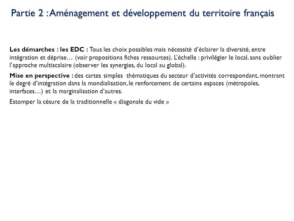Partie 2 : Aménagement et développement du territoire français Les démarches : les EDC : Tous les choix possibles mais nécessité déclairer la diversit
