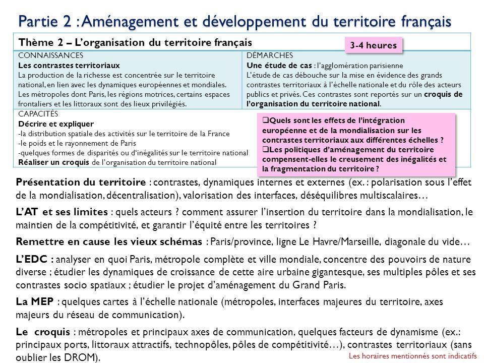 Thème 2 – Lorganisation du territoire français CONNAISSANCES Les contrastes territoriaux La production de la richesse est concentrée sur le territoire