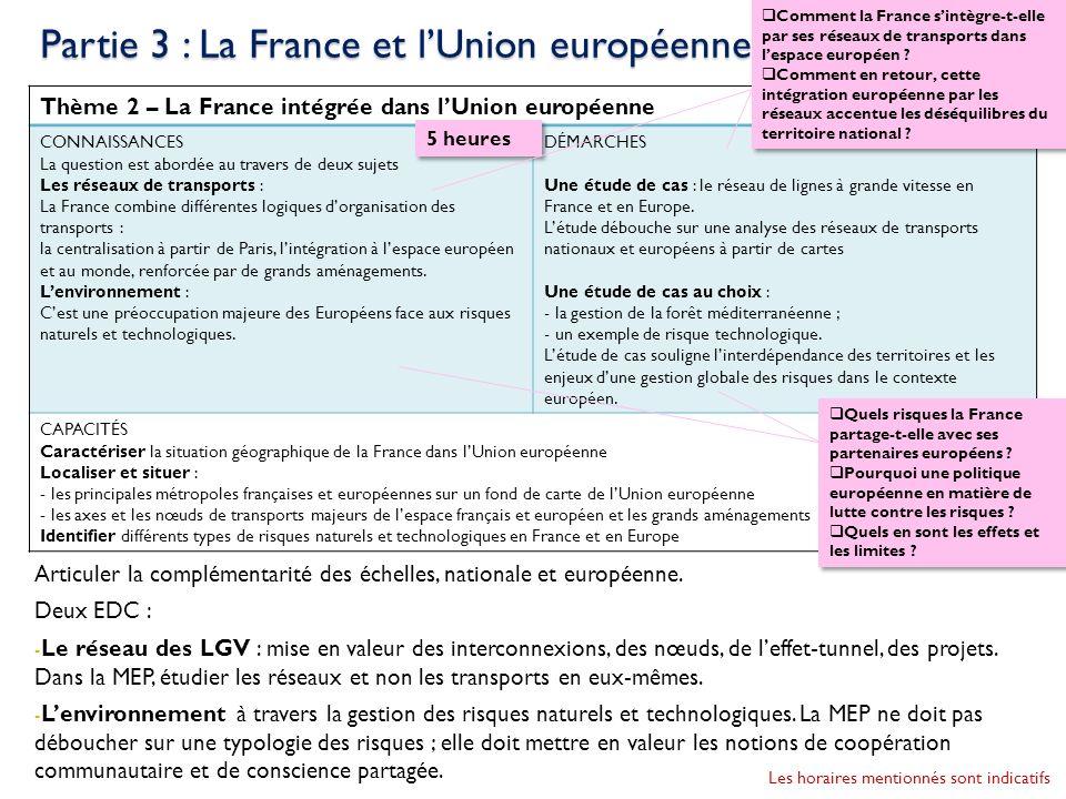 Thème 2 – La France intégrée dans lUnion européenne CONNAISSANCES La question est abordée au travers de deux sujets Les réseaux de transports : La Fra