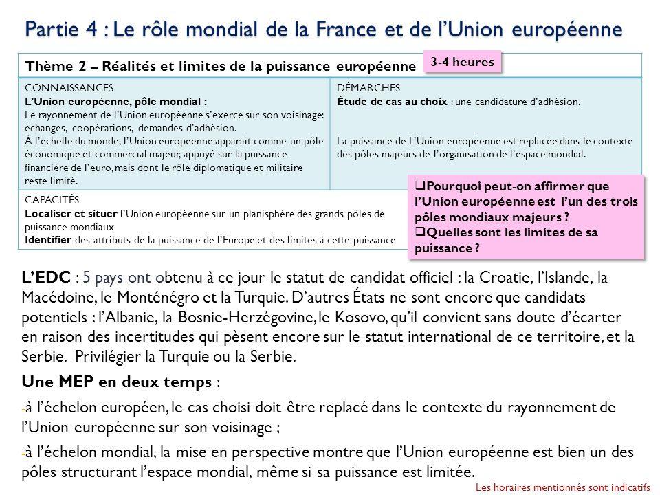 Thème 2 – Réalités et limites de la puissance européenne CONNAISSANCES LUnion européenne, pôle mondial : Le rayonnement de lUnion européenne sexerce s
