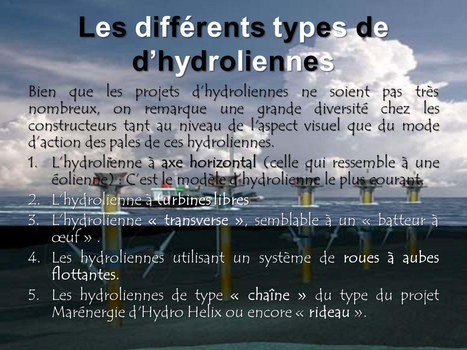 Les différents types de dhydroliennes Bien que les projets dhydroliennes ne soient pas très nombreux, on remarque une grande diversité chez les constr