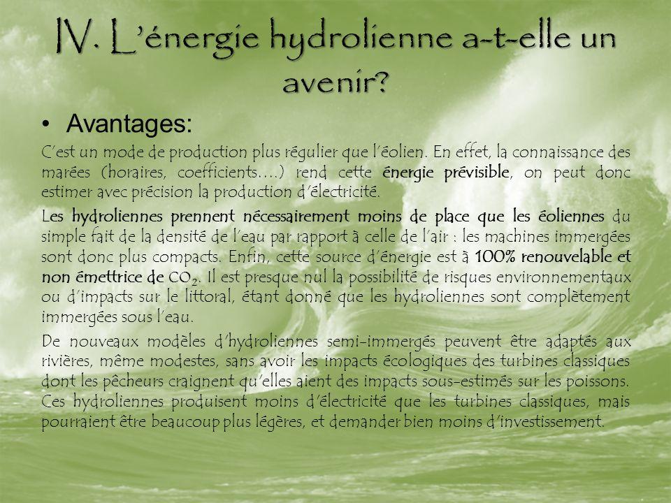 IV. Lénergie hydrolienne a-t-elle un avenir? Avantages: Cest un mode de production plus régulier que léolien. En effet, la connaissance des marées (ho