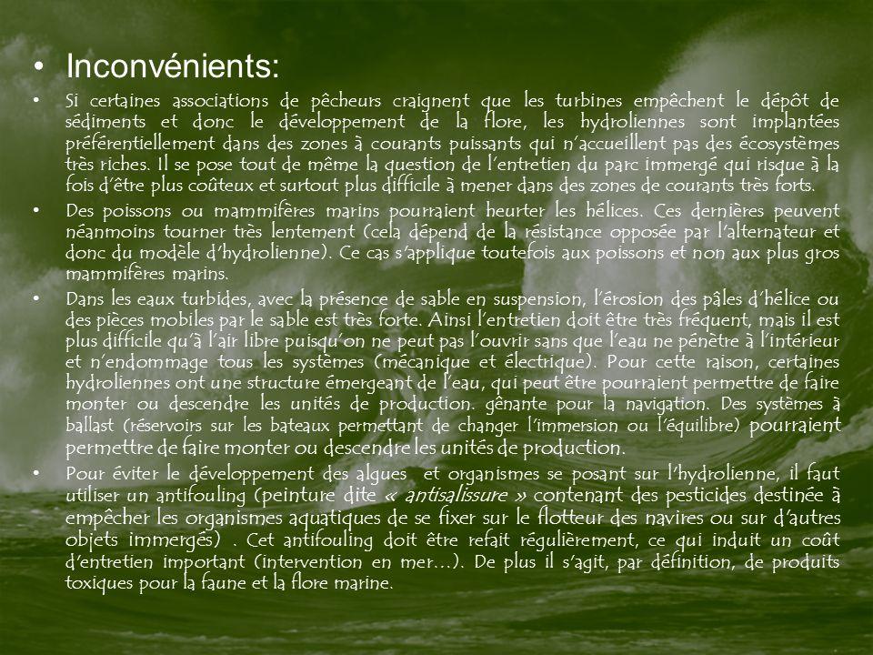 Inconvénients: Si certaines associations de pêcheurs craignent que les turbines empêchent le dépôt de sédiments et donc le développement de la flore,