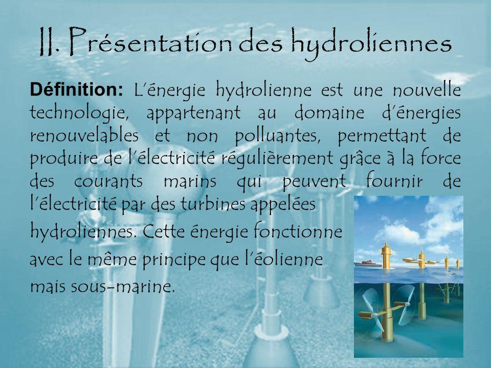 II. Présentation des hydroliennes Définition: Lénergie hydrolienne est une nouvelle technologie, appartenant au domaine dénergies renouvelables et non