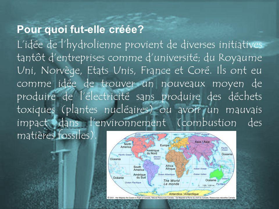 Pour quoi fut-elle créée? Lidée de lhydrolienne provient de diverses initiatives tantôt dentreprises comme duniversité; du Royaume Uni, Norvège, Etats