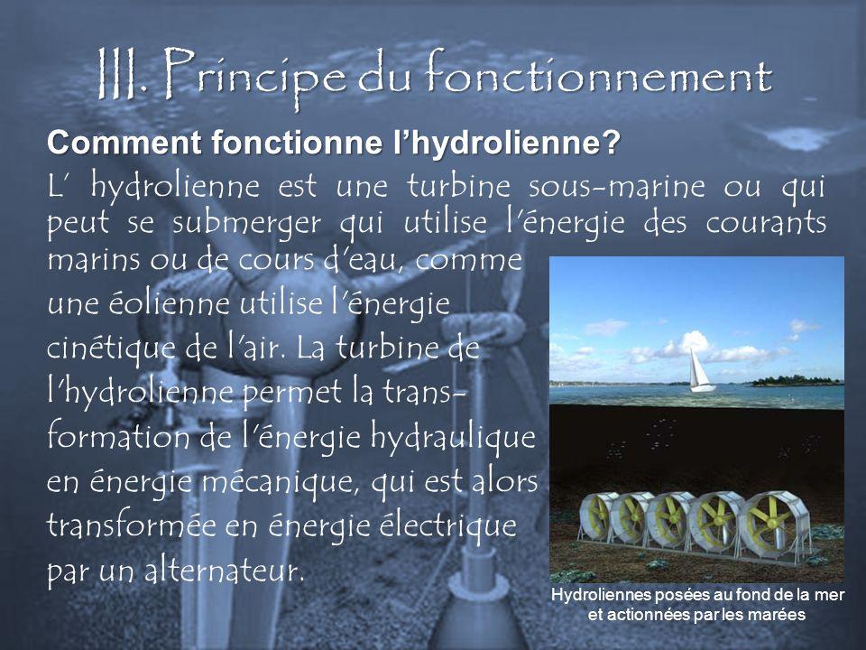 III. Principe du fonctionnement Comment fonctionne lhydrolienne? L hydrolienne est une turbine sous-marine ou qui peut se submerger qui utilise l'éner
