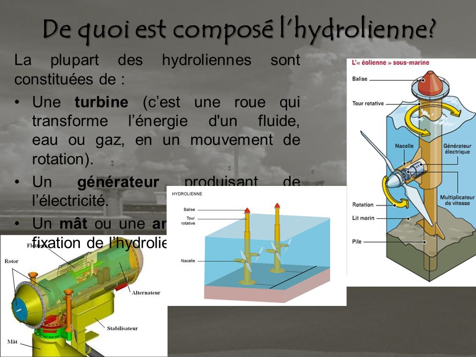 De quoi est composé lhydrolienne? La plupart des hydroliennes sont constituées de : Une turbine (cest une roue qui transforme lénergie d'un fluide, ea