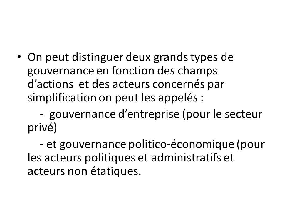 On peut distinguer deux grands types de gouvernance en fonction des champs dactions et des acteurs concernés par simplification on peut les appelés :