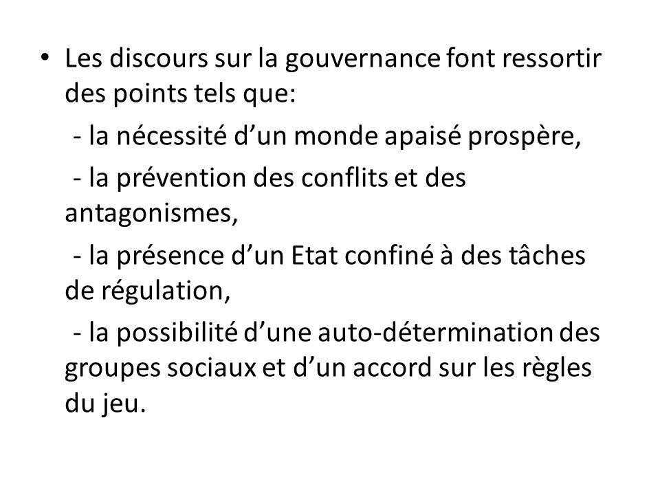 Les discours sur la gouvernance font ressortir des points tels que: - la nécessité dun monde apaisé prospère, - la prévention des conflits et des anta
