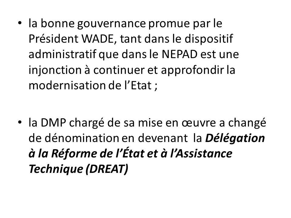 la bonne gouvernance promue par le Président WADE, tant dans le dispositif administratif que dans le NEPAD est une injonction à continuer et approfond