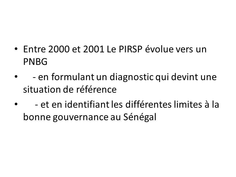 Entre 2000 et 2001 Le PIRSP évolue vers un PNBG - en formulant un diagnostic qui devint une situation de référence - et en identifiant les différentes