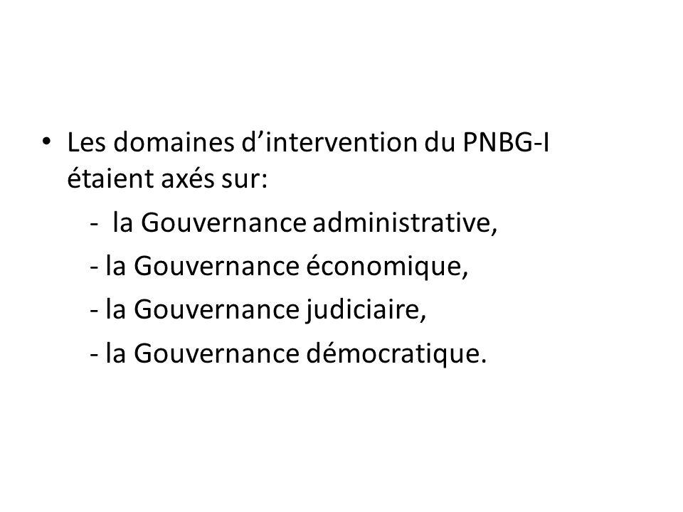 Les domaines dintervention du PNBG-I étaient axés sur: - la Gouvernance administrative, - la Gouvernance économique, - la Gouvernance judiciaire, - la