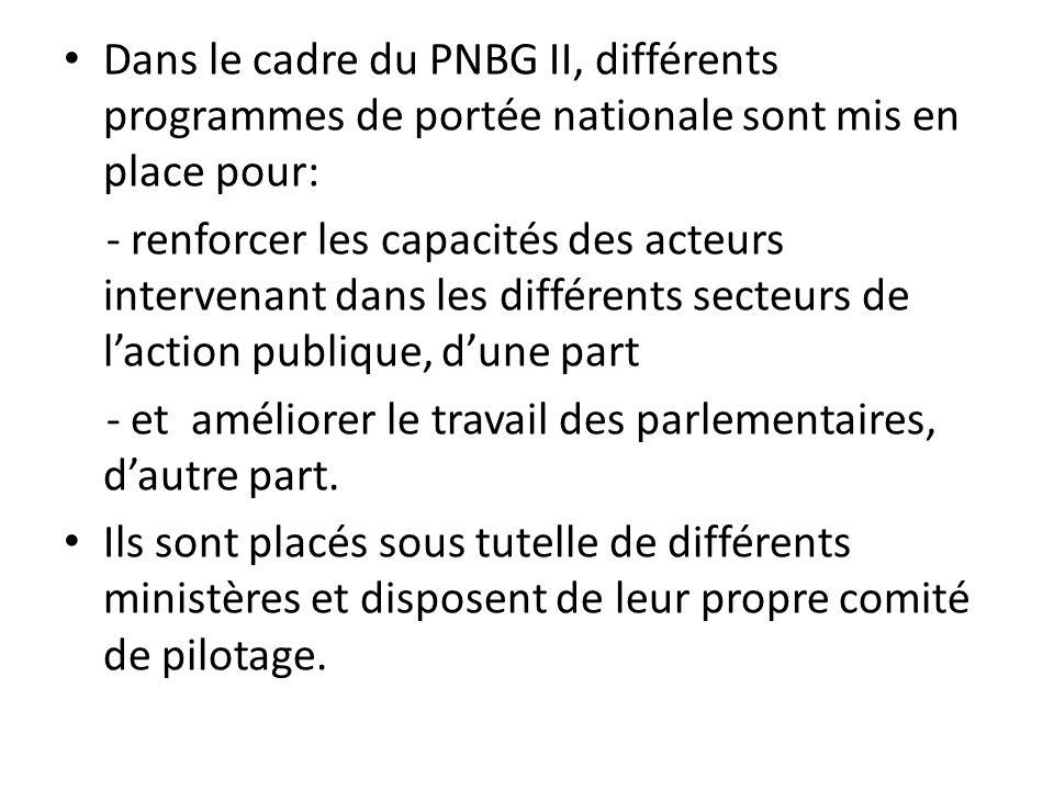 Dans le cadre du PNBG II, différents programmes de portée nationale sont mis en place pour: - renforcer les capacités des acteurs intervenant dans les