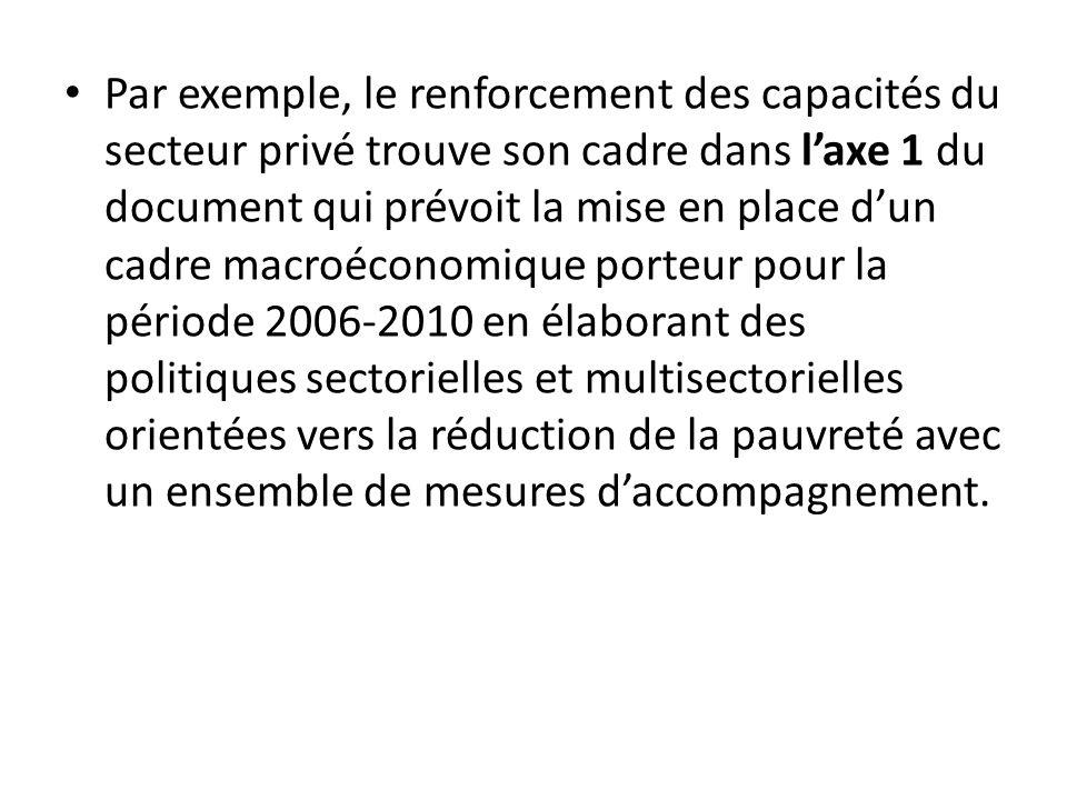 Par exemple, le renforcement des capacités du secteur privé trouve son cadre dans laxe 1 du document qui prévoit la mise en place dun cadre macroécono