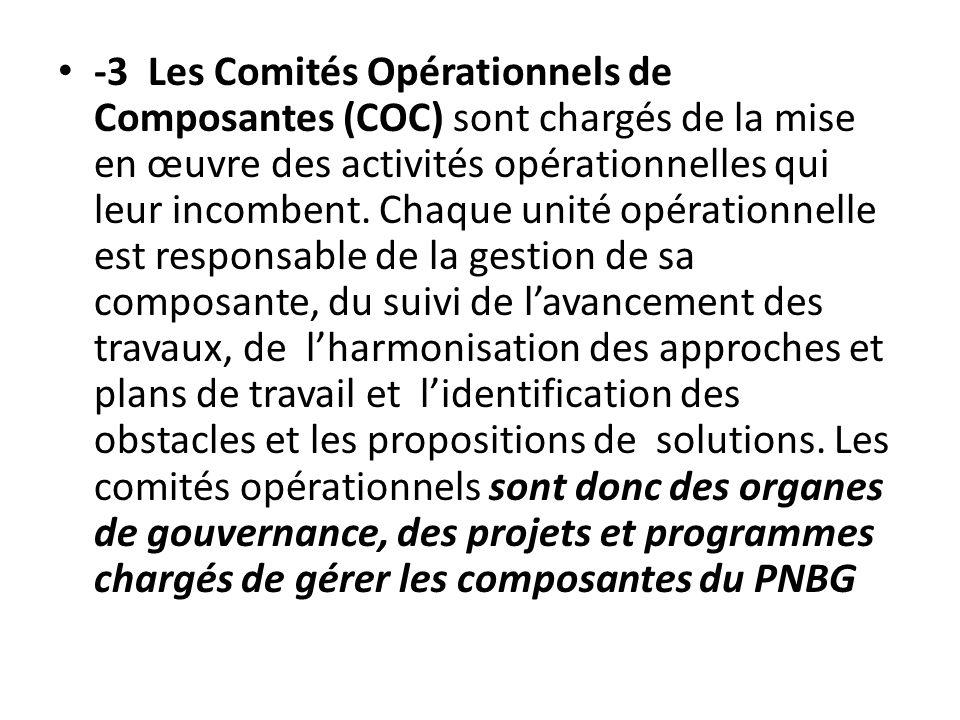 -3 Les Comités Opérationnels de Composantes (COC) sont chargés de la mise en œuvre des activités opérationnelles qui leur incombent. Chaque unité opér
